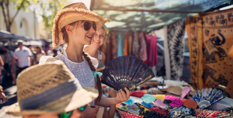 Girl shopping for souvenirs
